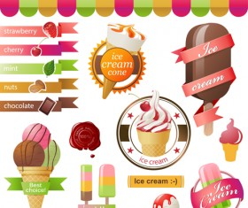 Different colored Ice cream vector 03