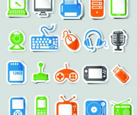 Icons stickers vector 01