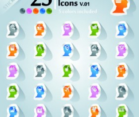 Icons stickers vector 12