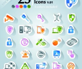 Icons stickers vector 13