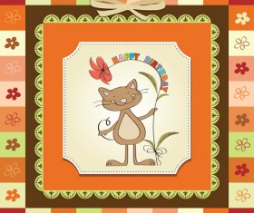Cute Kid card design vector 02
