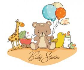 Cute Kid card design vector 03