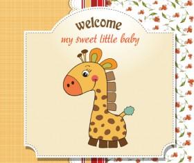 Cute Kid card design vector 08