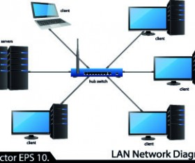 LAN network diagram vector Illustration 01