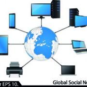 Link toLan network diagram vector illustration 02
