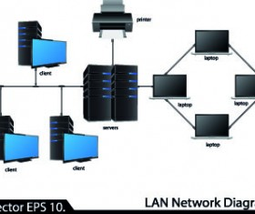 LAN network diagram vector Illustration 04