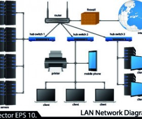 LAN network diagram vector Illustration 05