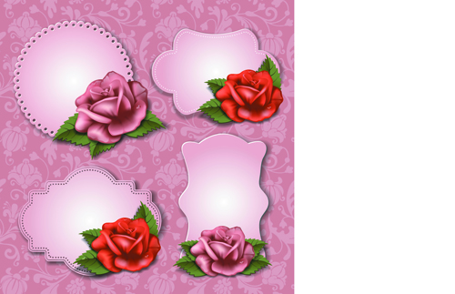 Flower and labels vector 02