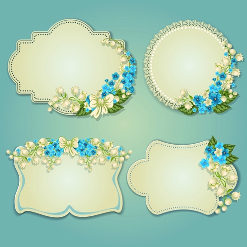 Flower and labels vector 04