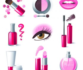 Cosmetics and Make-Up elements vector 01