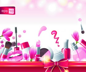 Cosmetics and Make-Up elements vector 02