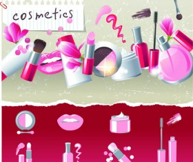 Cosmetics and Make-Up elements vector 03