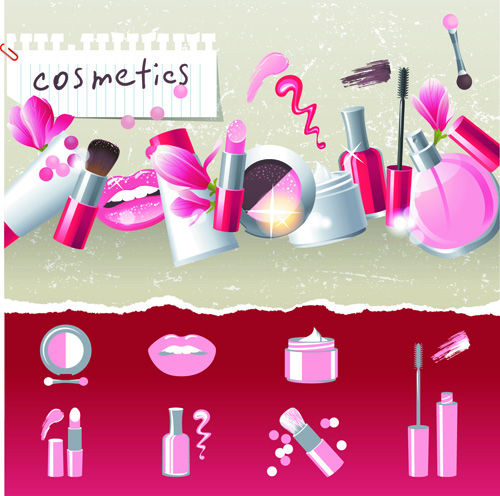 Cosmetics and Make Up elements vector 03