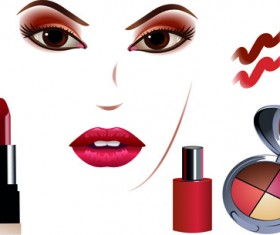 Cosmetics and Make-Up elements vector 04