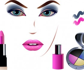 Cosmetics and Make-Up elements vector 05