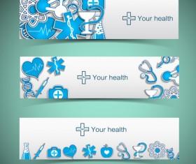 Medical elements vector banner 02