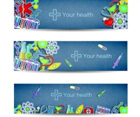Medical elements vector banner 03
