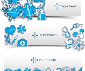Medical elements vector banner 04