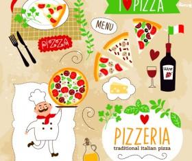 Creative Pizza design elements vector 04