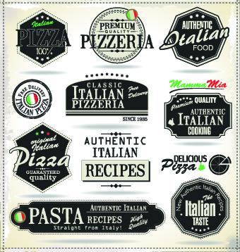 Pizza labels vector set 02