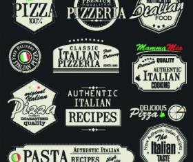 Pizza labels vector set 03