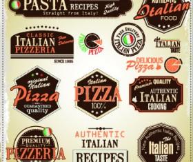Pizza labels vector set 04