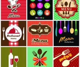 Retro Menu with labels vector 01