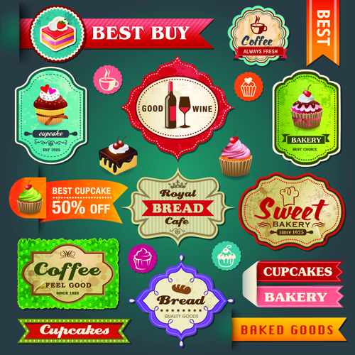Retro Menu with labels vector 02