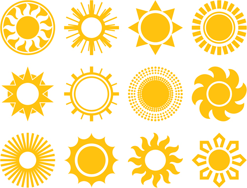 Sun Icons Design Elements 04 Vector Icons Free Download