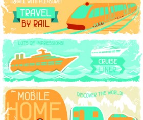 Transport banners vector 03
