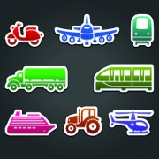 Link toDifferent transport stickers vector 02