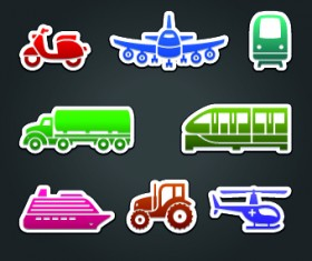 Different Transport stickers vector 02