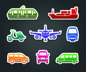 Different Transport stickers vector 03