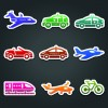 Different Transport stickers vector 04