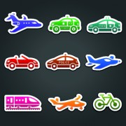 Link toDifferent transport stickers vector 04