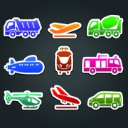 Link toDifferent transport stickers vector 05