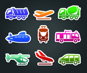 Different Transport stickers vector 05