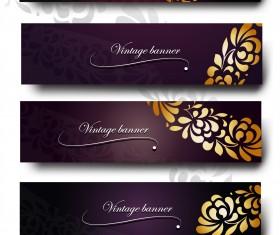Purple Vintage Backgrounds vector set 03