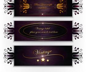 Purple Vintage Backgrounds vector set 04