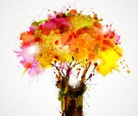 Creative Watercolor tree vector 01
