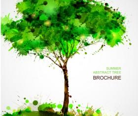 Creative Watercolor tree vector 03
