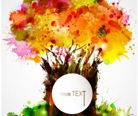 Creative Watercolor tree vector 04