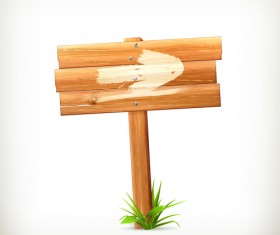 Wooden board with grass vector 01