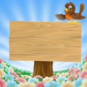 Link toWooden board with grass vector 02