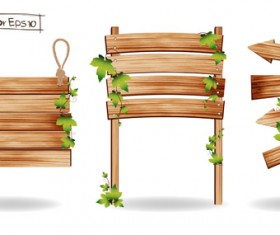 Wooden board with grass vector 03