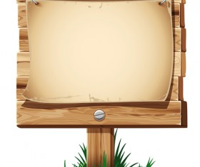 Wooden board with grass vector 05