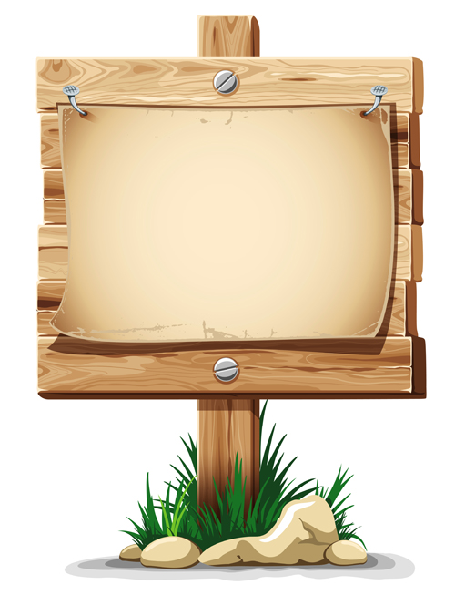 Wooden board with grass vector free download
