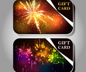 Fireworks Gift cards vector 01