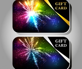 Fireworks Gift cards vector 02