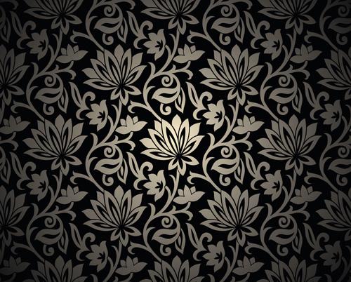 Black Floral Backgrounds 05 Free Download